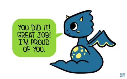 [Image description: drawing of a blue and yellow dragon saying u201cYou did it - You Did It PNG
