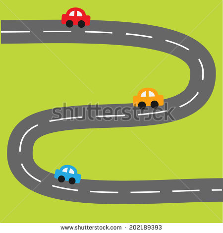 Background with zigzag road and cartoon cars. Vector illustration - Zigzag Road PNG