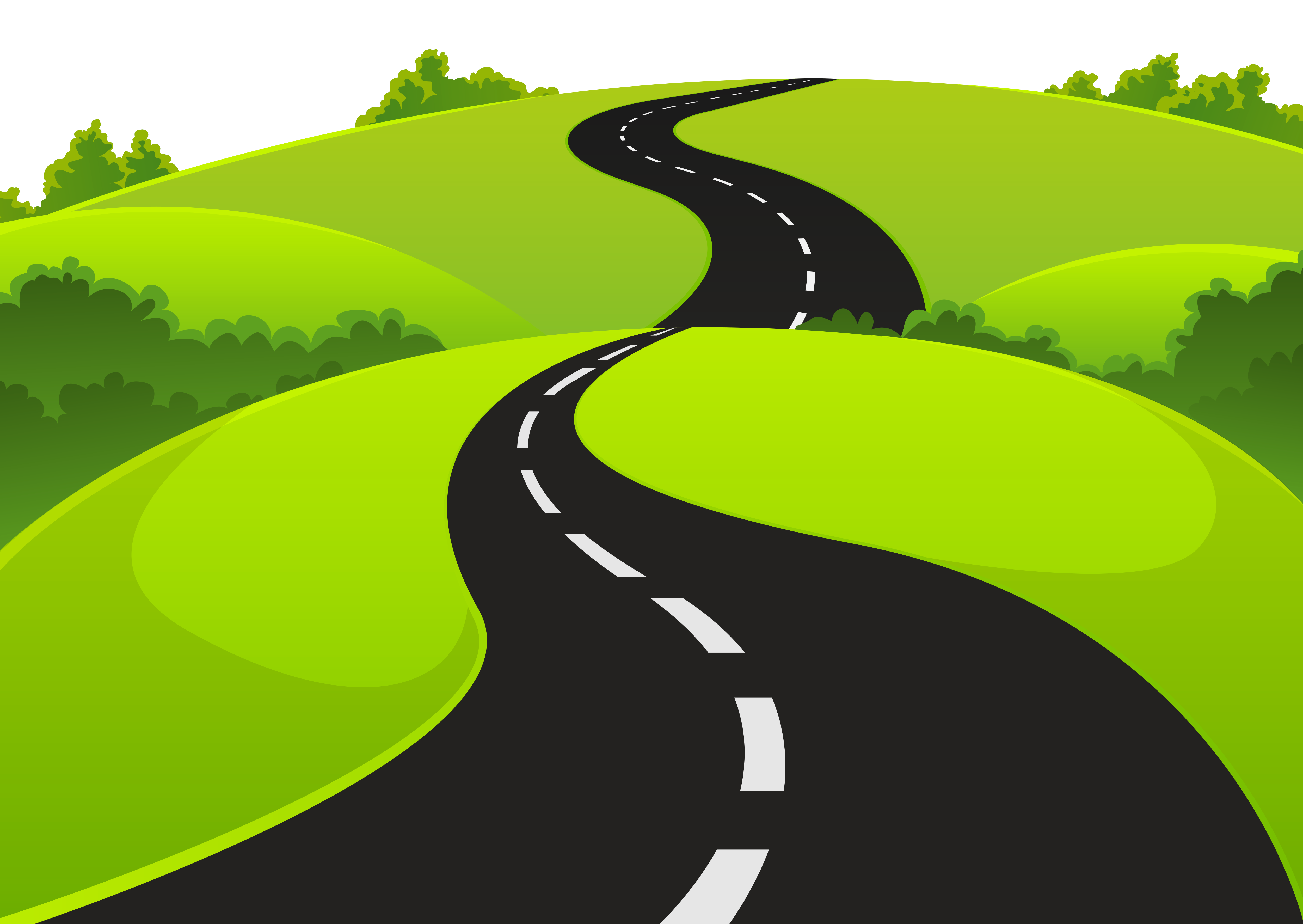 Green Hils Roads Clipart - Zigzag Road PNG