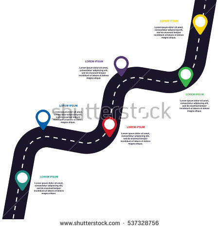 Zig-zag asphalt road with pin-pointers. Vector EPS 10 - Zigzag Road PNG