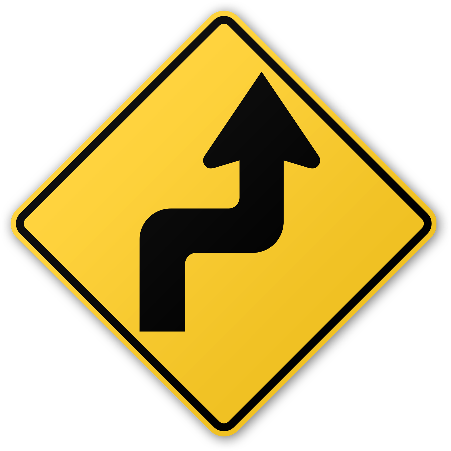 Zigzag Road Sign - Zigzag Road PNG